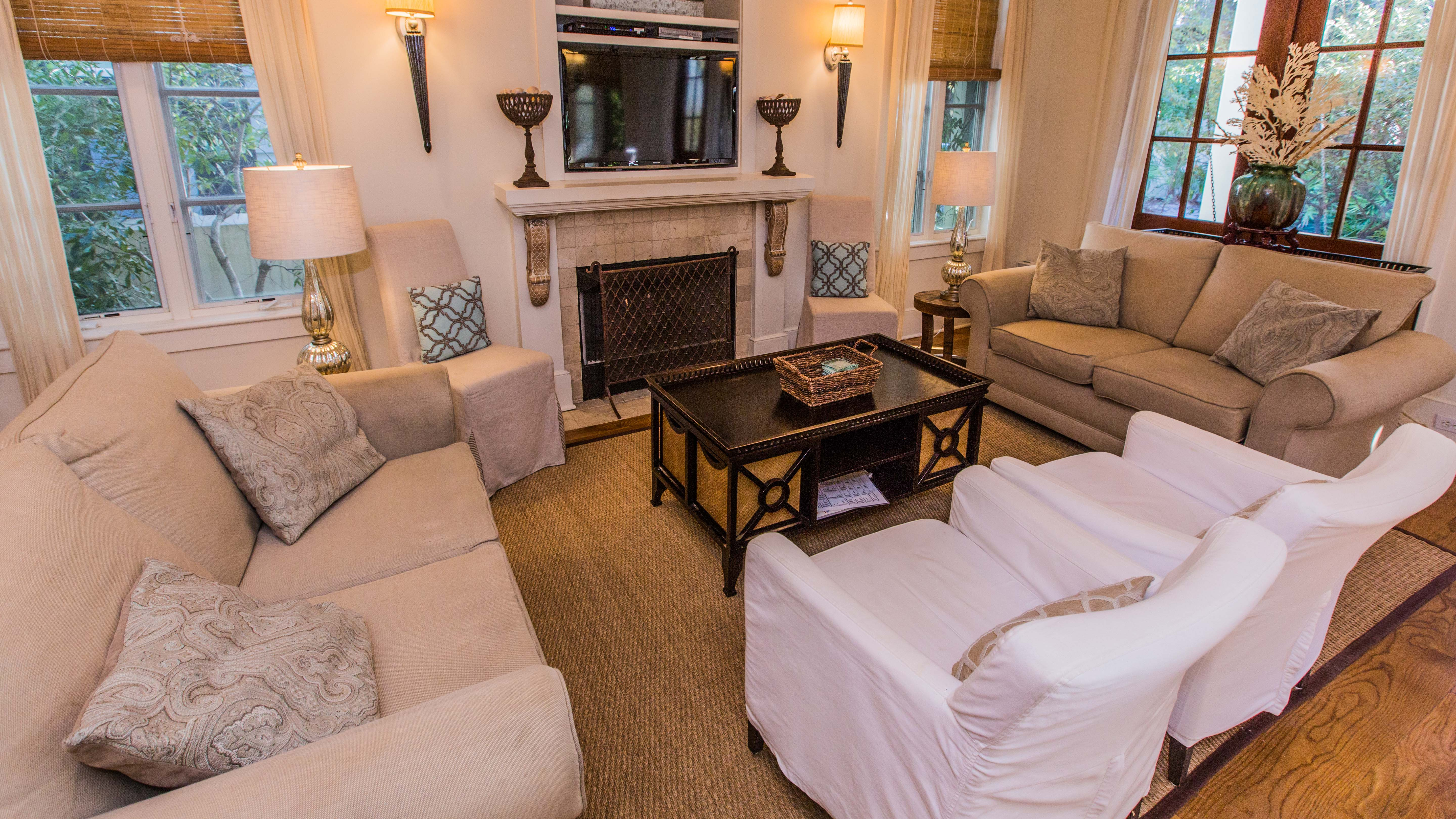 Comfortable seating, fireplace and flat screen LED television