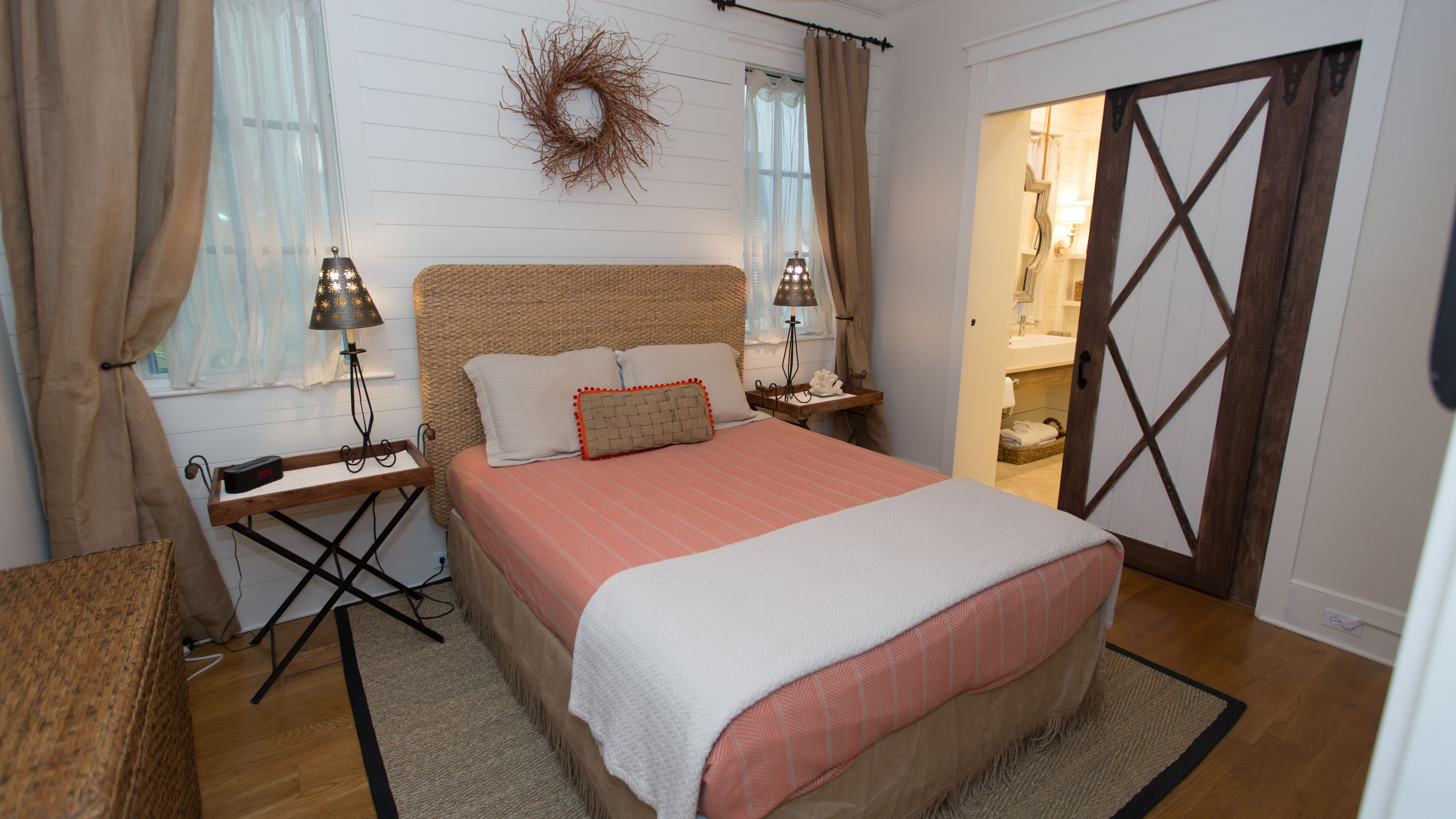 First floor queen bed guest room with en suite bath